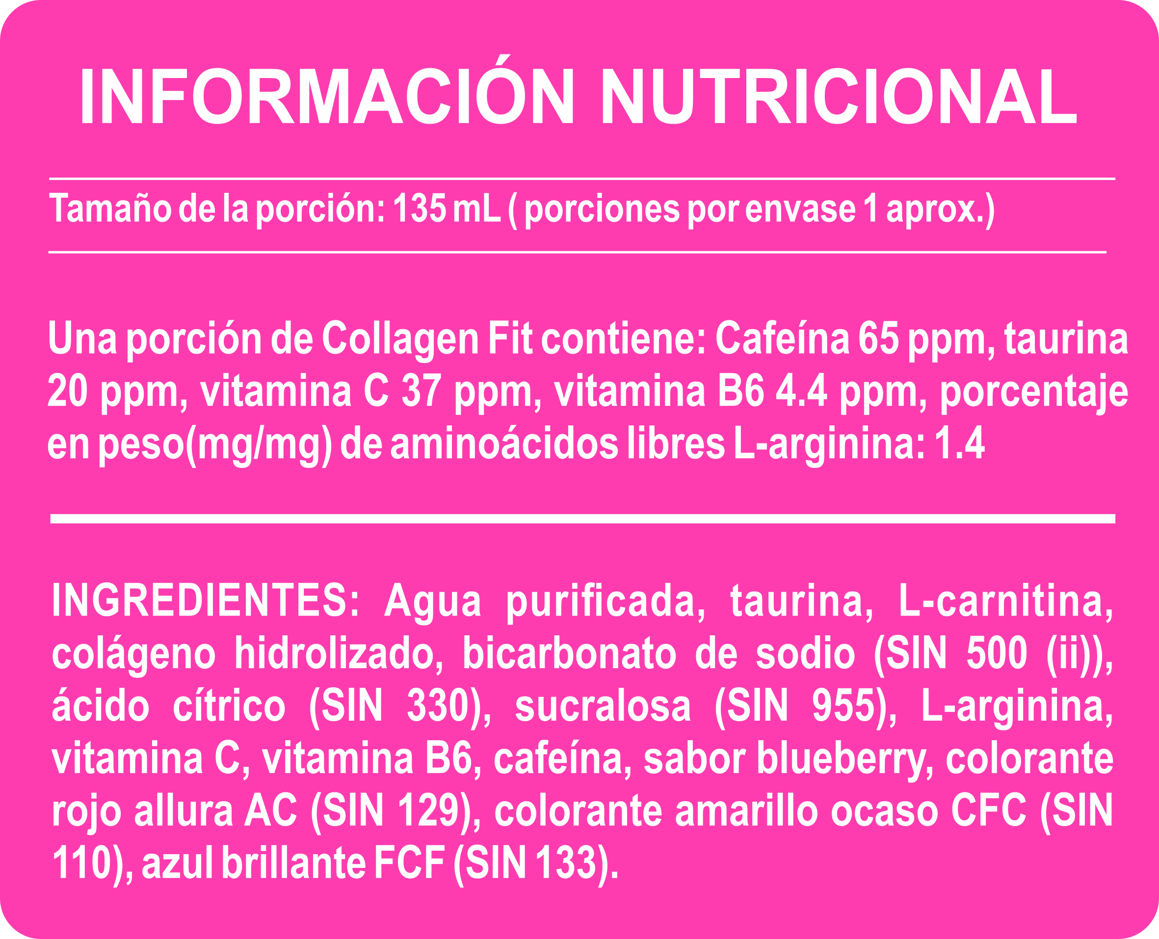 Tabla Nutricional COLLAGEN FIT