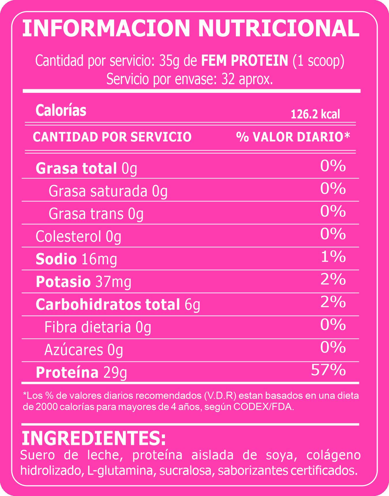 Tabla Nutricional FEM PROTEIN
