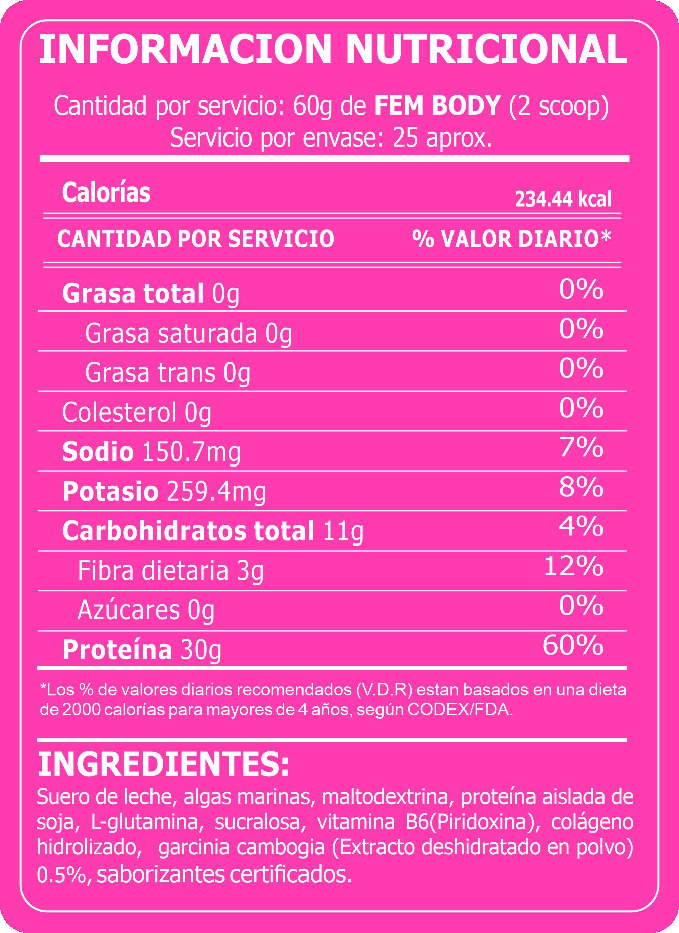 Tabla Nutricional FEM BODY