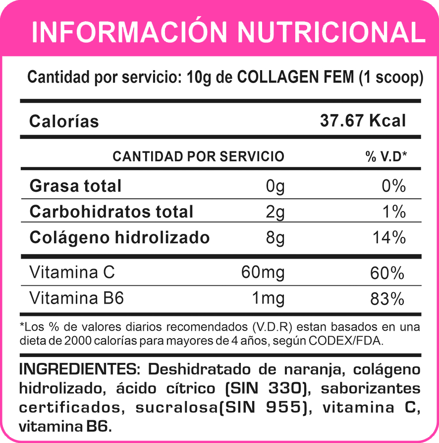 Tabla Nutricional COLLAGEN FEM